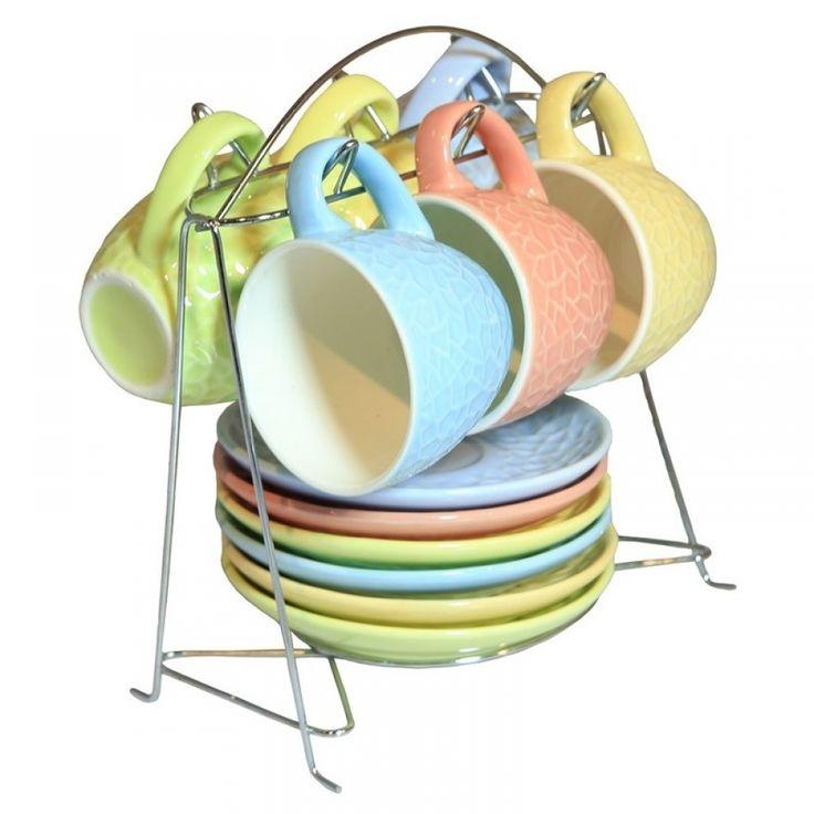 Φλιτζάνια espresso σε νίκελ βάση σετ/6 σε 6χρώματα 90ml Porcelain,dishwasher safe