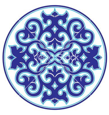 Blue oriental ottoman design twenty three version vector