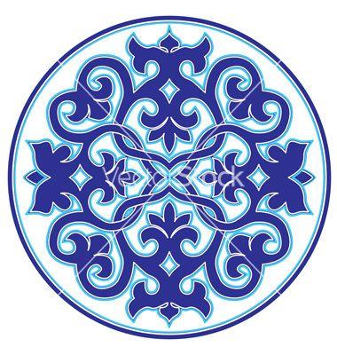 Blue oriental ottoman design twenty three version vector