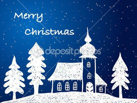 Weihnachten Kirche mit Schnee in der Nacht — Stockillustration #12809670