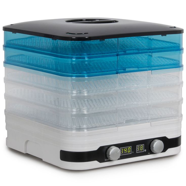 Della Deluxe Electric Food Dehydrator Stackable Tray Removable 5-Trays, 350-Watt, White