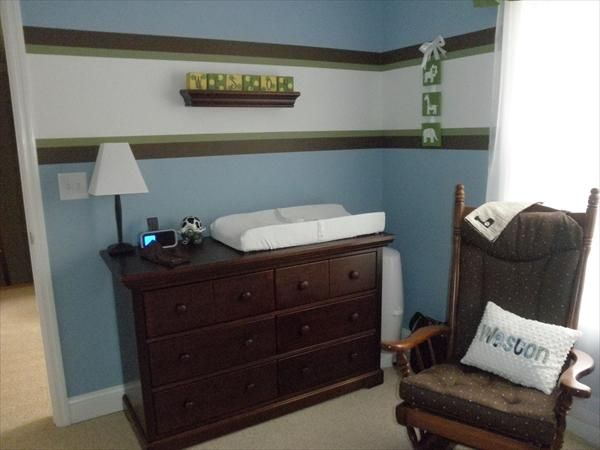 Blue brown and green boy room