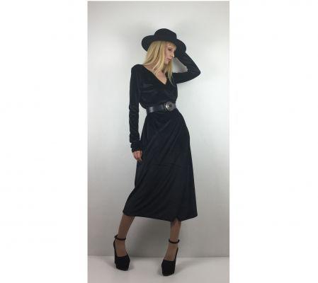 Siyah Kadife Kruvaze Elbise - Black Velvet Wrap Dress