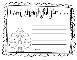 I am Thankful for.  GREAT Blog with lots of ideas for first grade!