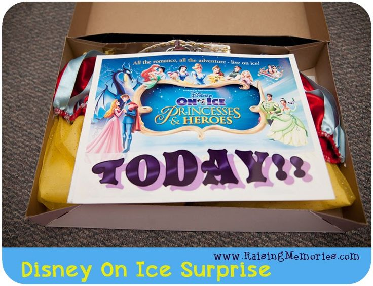 "Creative way to give tickets for a gift at www.RaisingMemories.com.  This specifically shows ""Disney on Ice."""