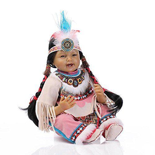 Nicery rinascere bambino Bambola indiano Pelle nera 22 pollici 55 cm Simulazione Silicone Vinile Bocca magnetica realistico Ragazzo Ragazza Giocattolo Sorriso