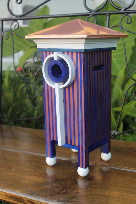 Distintive Contemporary Birdhouse by RainbowBirdhouses on Etsy