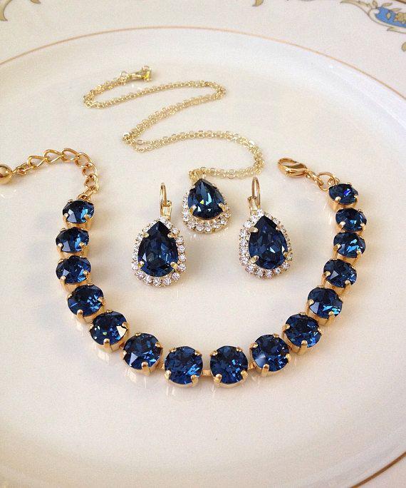 5bf54cc5914cc Set: Bracelet, Earrings, Necklace, Swarovski, navy blue, Sapphire ...