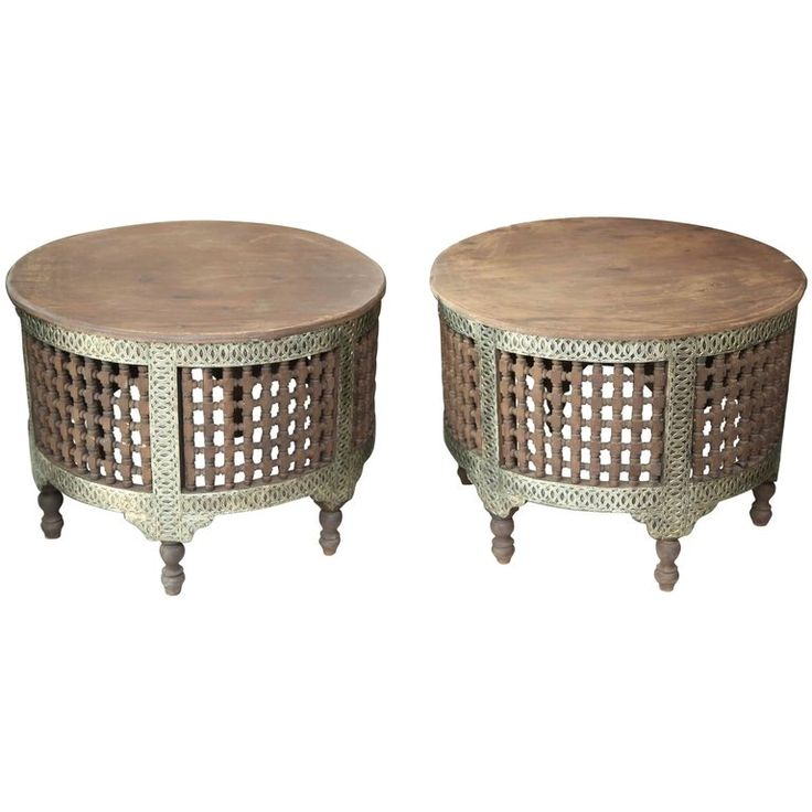 Pair of Two Round Moroccan Coffee Tables For Sale at 1stdibs