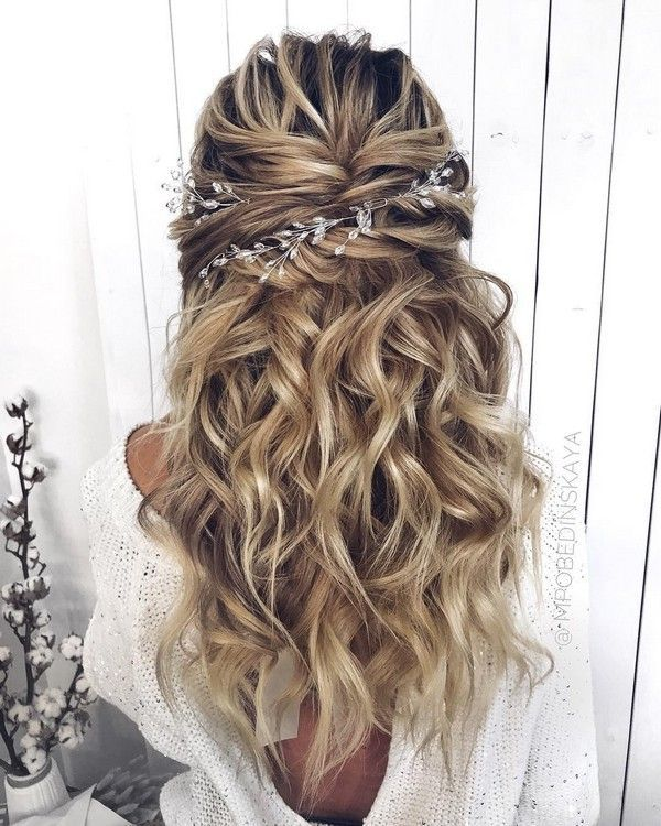 Long half up half down wedding hairstyles from mpo…