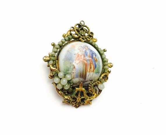 Art Deco Brooc, Victoriaanse paar, antieke gouden Toon filigraan, Retro, Boho sieraden, Artikelnr. B113