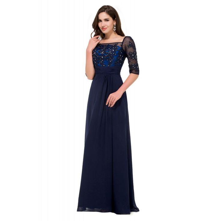 Tmavomodré spoločenské šaty CL008919