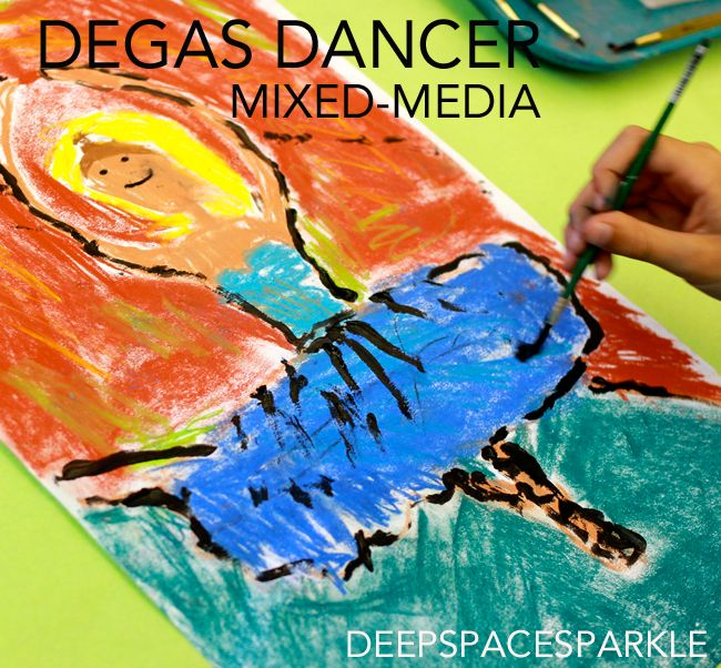 Third graders use mix-media techniques to draw and paint a ballerina. And yes, even the boys loved it! Degas Dancer Art Lesson