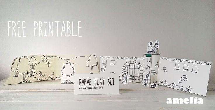 Free printable - make your own playset to re-tell the story of brave Rahab. From Amelia Magazine www.ameliamagazine.net