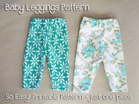 Sew your own baby leggings. Free printable pattern.