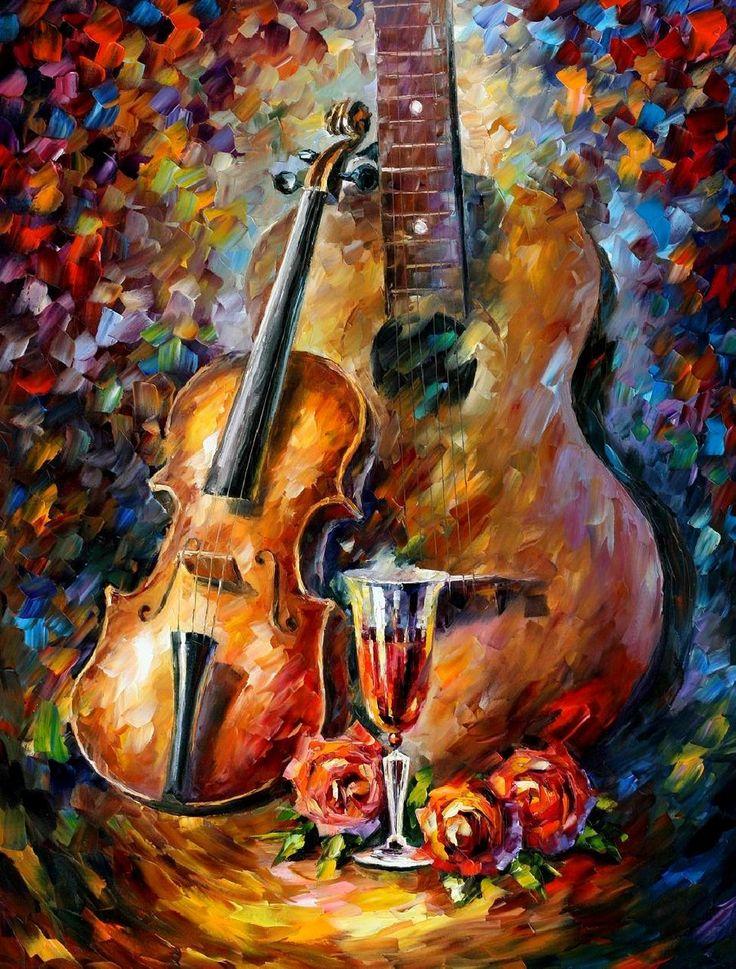Leonid Afremov Guitar And Violin Art Pinterest Art