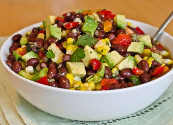 Black Bean Salad with Corn, Red Peppers, Avocado & Lime-Cilantro Vinaigrette