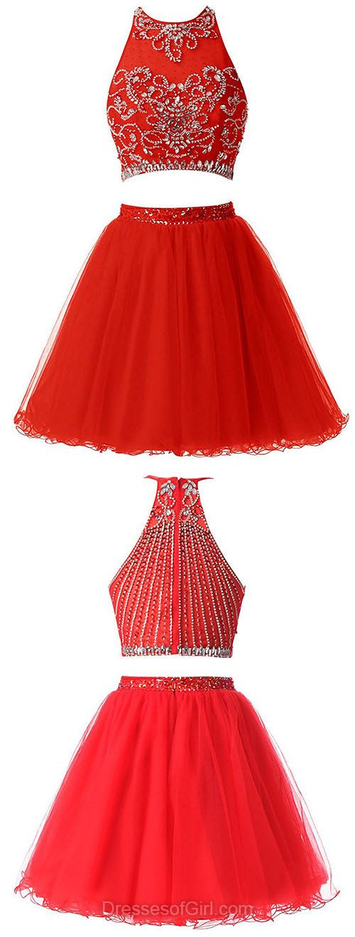 Red Homecoming Dresses, Beading Party Dresses, Short Cocktail Dress, Sexy Girls Graduation Dress, Two Piece Prom Dresses