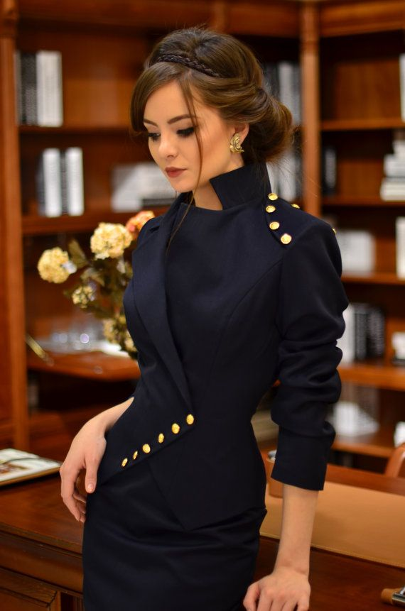 Milla jacket dark navy by LauraGalic on Etsy