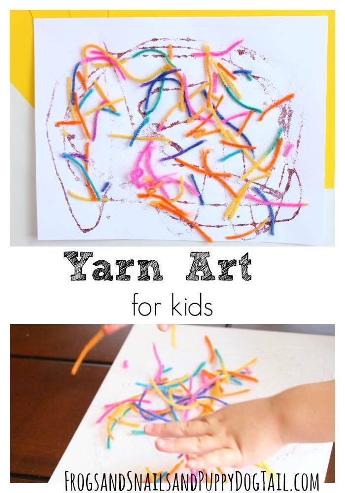 Yarn Art for Kids. Fun toddler art project.