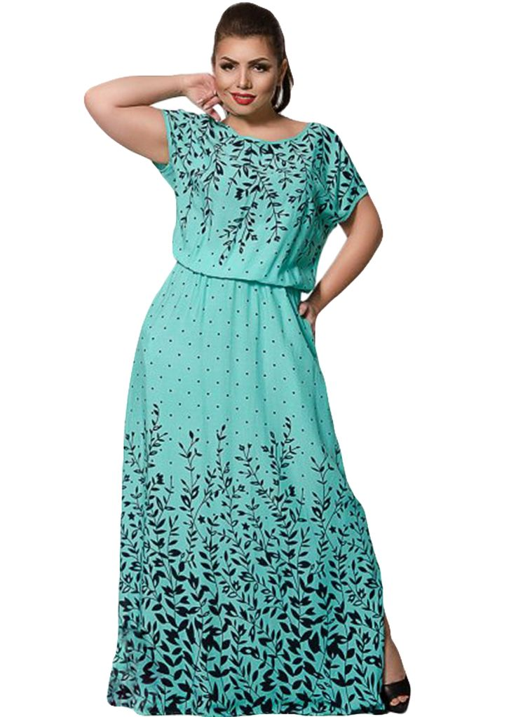 Floral Print Short Sleeve Big Size Ladies Maxi Dress_Plus size Dress_Plus size Clothing_Sexy Lingeire | Cheap Plus Size Lingerie At Wholesale Price | Feelovely.com
