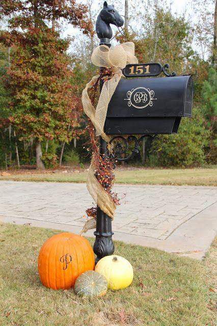 fall mailbox Southern Soul Mates: Fall Home Tour 2013 #burlap #pumpkins #monogram