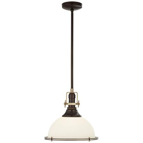 """Raleigh 17""""W Oil-Rubbed Bronze and Antique Brass Pendant"""