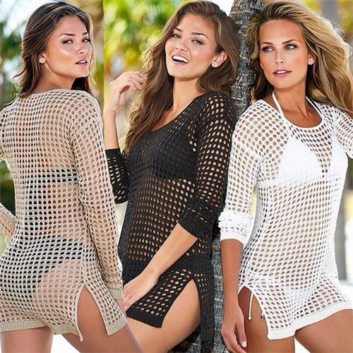 Sexy Swimwear Lace Crochet Cover Up Women 2015 Summer Beach Bikini Cover Ups Fashion Knitting Swimsuit Cover Up Beach Wear 2812