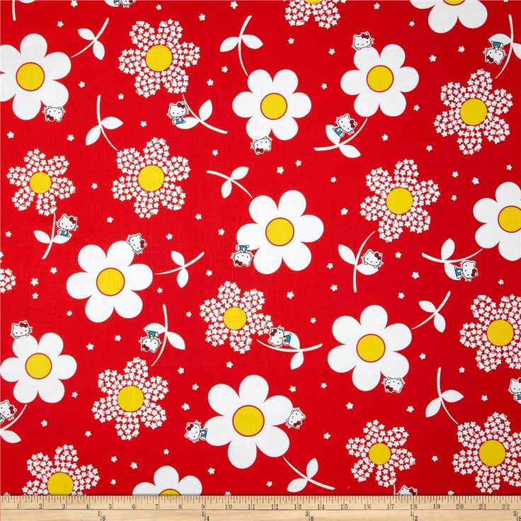 Hello Kitty Giant Daisies Red from @fabricdotcom  Licensed from Sanrio to Kokka, this Japanese fabric is perfect for quilting, apparel and home decor accents. Colors include black, white, red, yellow and blue.