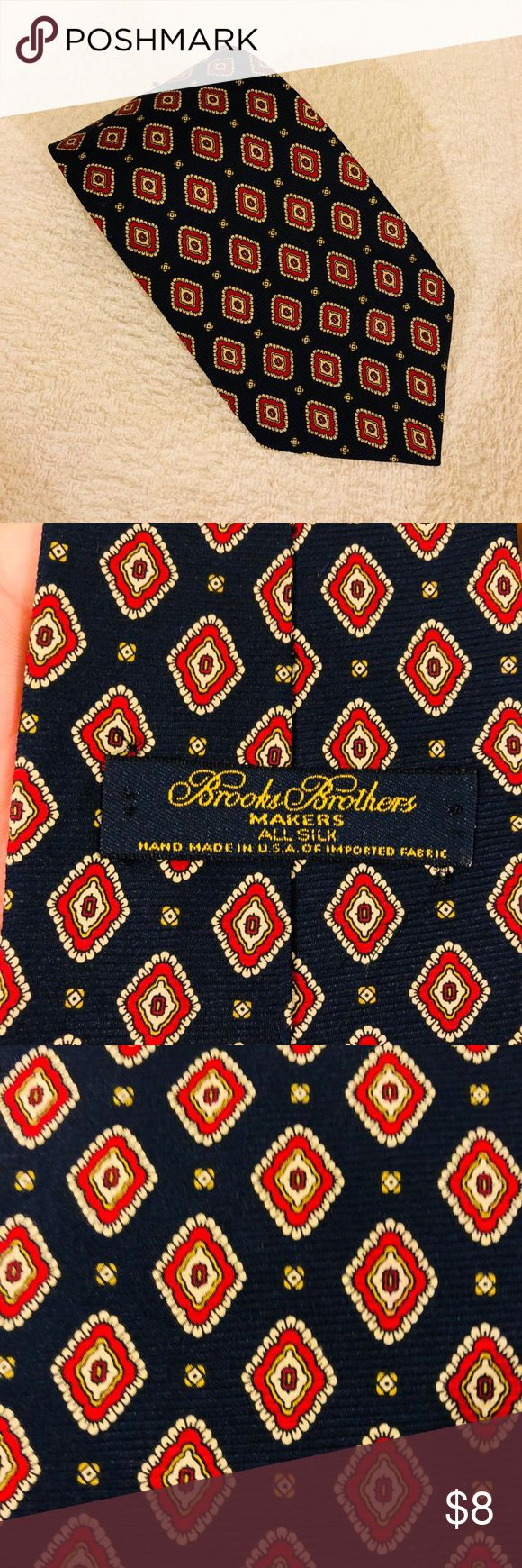 Brooks Brothers Navy w/ Red & Gold Check Tie Brooks Brothers Navy Blue With Red, Gold and White Check Silk Necktie! Great condition! Please make reasonable offers and bundle! Ask questions! Brooks Brothers Accessories Ties