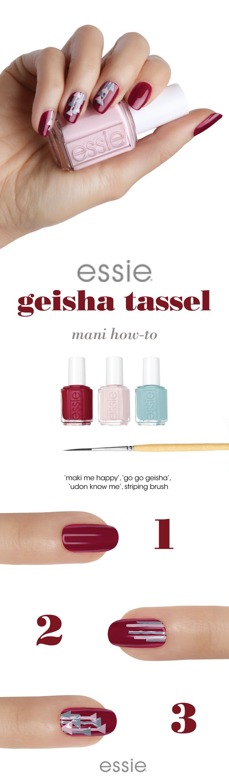 go geisha with our Japan travel-inspired fall shades and this simple, fun nail art design  step 1: After a thin layer of essie base coat, apply two coats of maki me happy. step 2:Using a striping brush, apply thin stripes of go go geisha and udon know me vertically down the nail. step 3: Use the striping brush to create 1-2 small triangle tassels hanging on each of the lines. step 4: Seal with essie top coat.