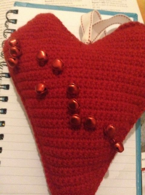 Cute Crocheted Braille Love Heart. £9.99