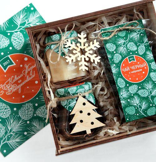 Чай Мёд Варенье с логотипом Сладкие Новогодние подарки