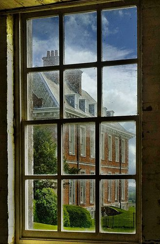 View of Uppark House from the stable window, South Harting, Petersfield, West Sussex, England