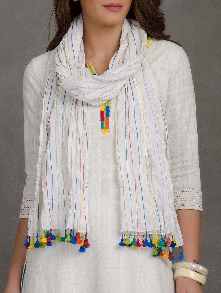 Buy Multicolor White Stitch Line Detailed Cotton Mul Stole with Tassels Scarves & Stoles Woven Caught Amid a Summer Field Bright Embroidered Apparel in Khadi Online at Jaypore.com