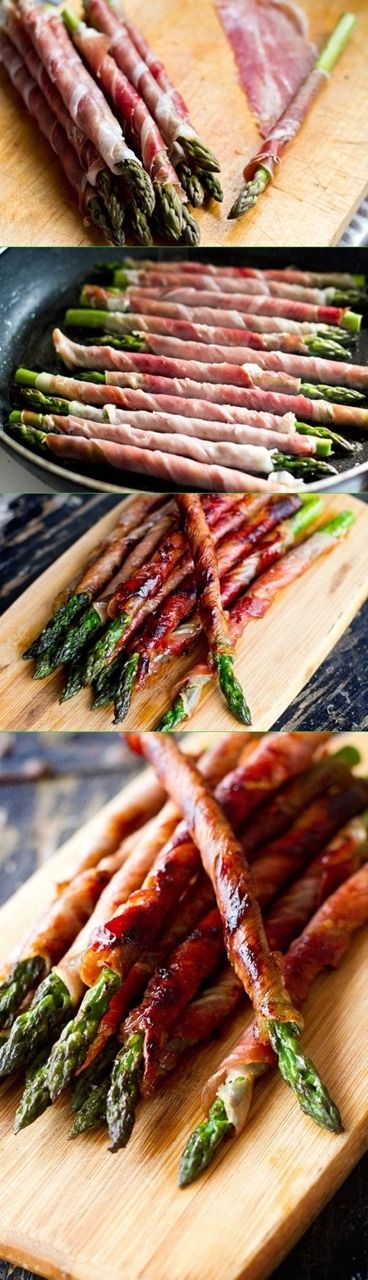 Prosciutto Wrapped Asparagus. What a fun idea for a Christmas side dish.