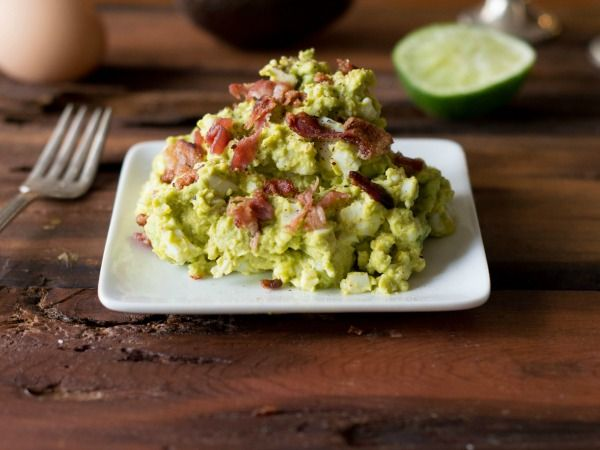 Avocado Egg Salad Recipe Salads with hard-boiled egg, avocado, bacon, sea salt, black pepper, cumin, lime