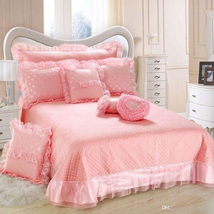 Ropa de cama de 9 piezas Set bordada de satén jacquard rosa de encaje rojo boda ropa de cama de la reina Conjuntos Conjuntos Rosa funda de edredón de seda de lujo Funda Nórdica Sábanas Hoja de cama Ropa De Cama de lujo