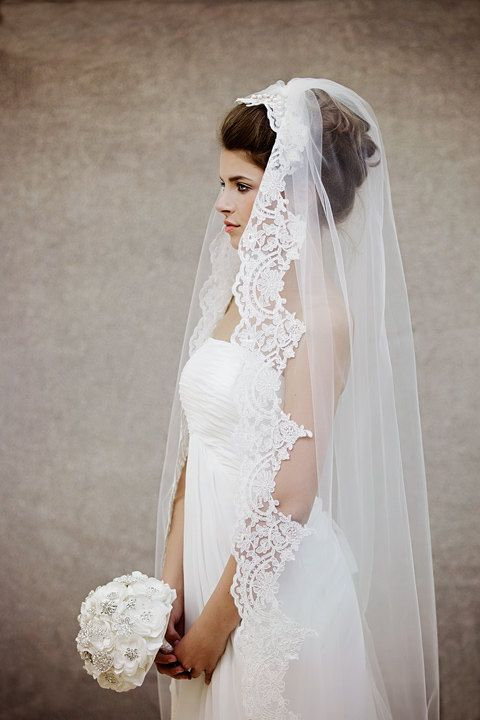 Lace trimmed Wedding Veil with pearl/ crystal bridal comb to secure the veil