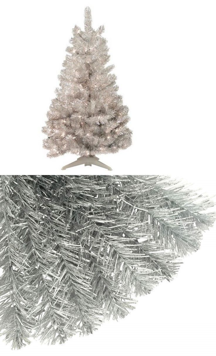 Crestwood small artificial christmas tree with plastic bronze pot - Artificial Christmas Trees 117414 New 4 Ft Mid Century Modern Silver Pre Lit