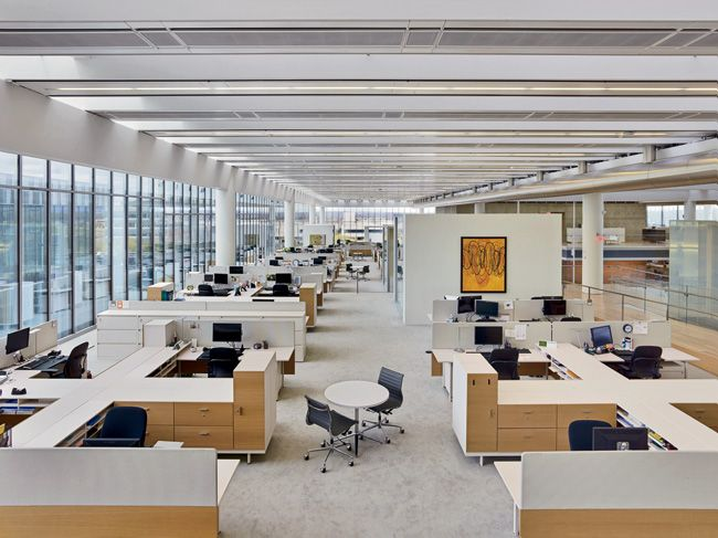 of private offices areas dubbed neighborhoods within the open office