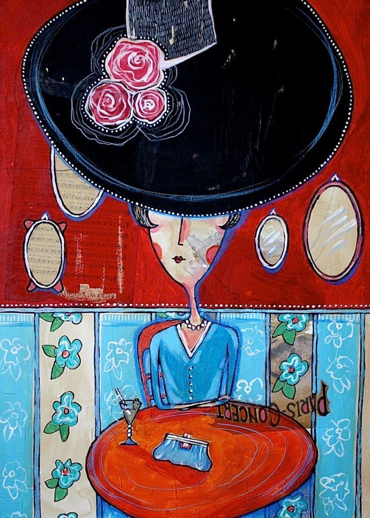 Femme au chapeau - Toile format : 50 cm x 70 cm
