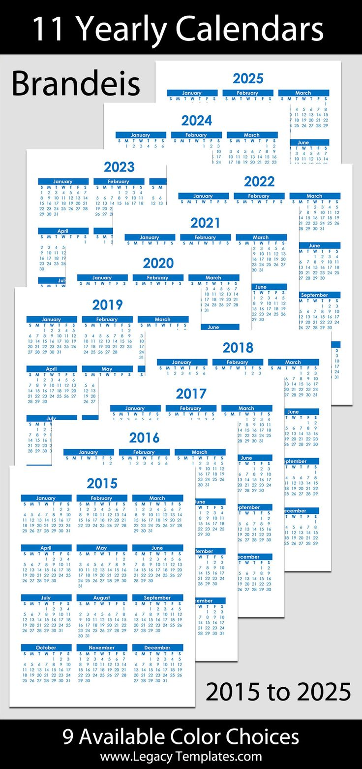 2015 to 2025 Printable Yearly Calendars - letter size – 8 1/2″ x 11″. The calendars are available in a variety of colors. Save by purchasing multiple years. Calendar bundle is $7.  #calendars, #printable, #yearly, #pdf, #blue, #green, #purple, #pink, #red, #bright colors, #multi-colored, #purple, #downloadable, #half-letter, #8 1/2″ x 11,  #franklin classic, #instant download, #planner