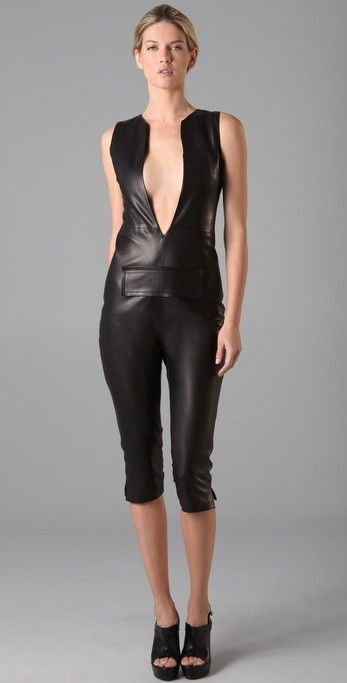 New Black Genuine Lambskin Leather Body Fit Jumpsuit Dress Size XS-4XL Womens #dressmean #Jumpsuit