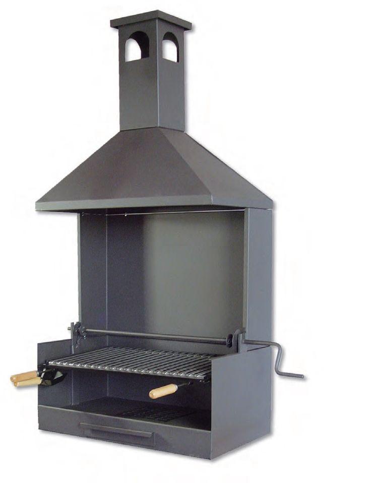 Barbecue argentin avec grille en V pour retenir les graisses et manivelle pour en faire le réglage en hauteur facilement.