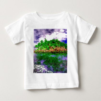 Tropical Island Oasis Baby T-Shirt - ocean side nature waves freedom design