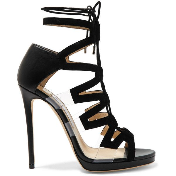 Jimmy Choo Dani cutout leather, suede and PVC sandals ($1,105) ❤ liked on Polyvore featuring shoes, sandals, heels, jimmy choo, sandales, black, jimmy choo sandals, cut out gladiator sandals, leather sandals and black leather shoes