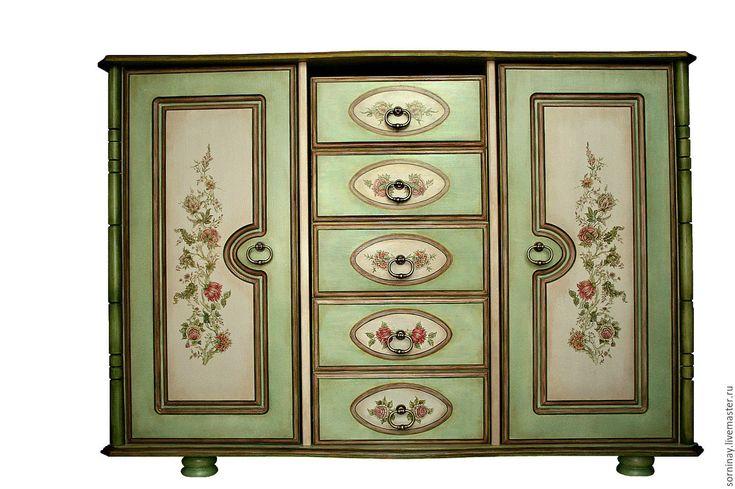 Купить Роспись мебели Тайны английского сада. - салатовый, мебель из дерева, Мебель, Роспись по дереву