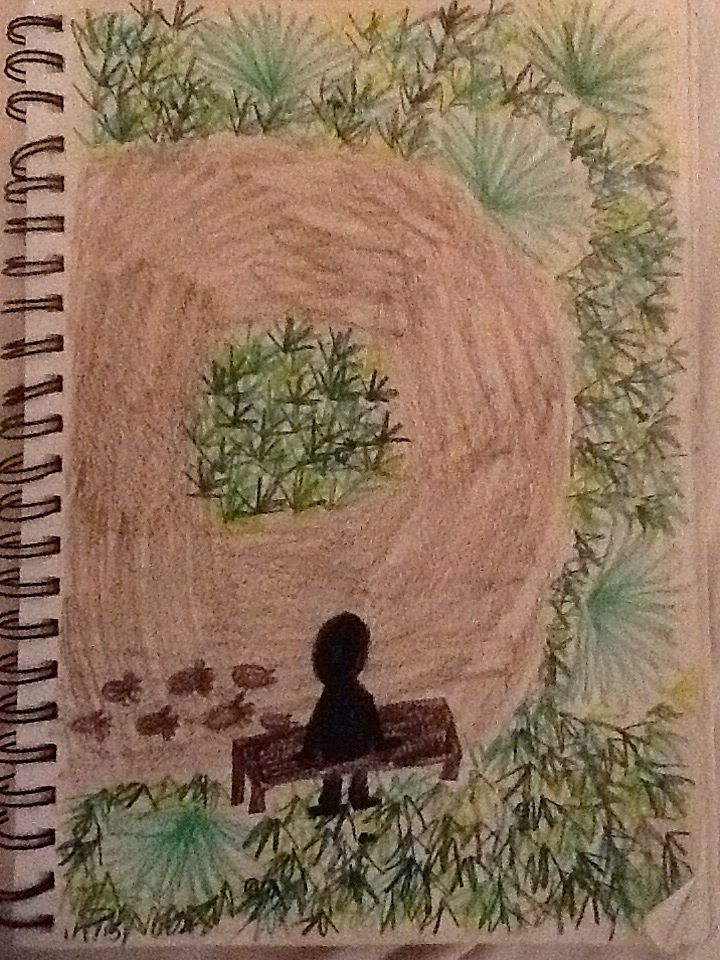 A person in a garden of plants and small creatures including snails