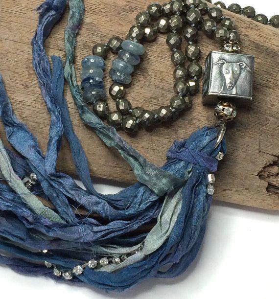 Anne Choi Knotted Sari Silk Ribbon Tassel Necklace  by LoveandLulu
